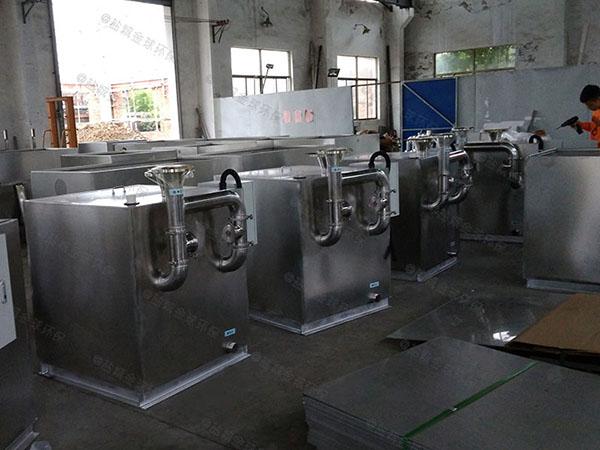 工地食堂100人组合式油水分离机设备工艺流程图
